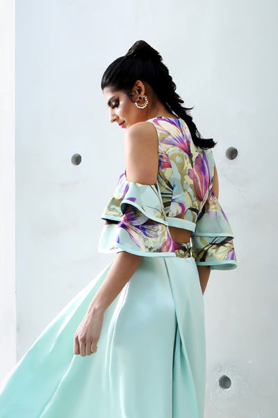 Harleen Kaur Jiya Cold Shoulder Ruffle Crop Top in Tulip Jacquard - Back View