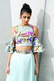 Harleen Kaur Jiya Cold Shoulder Ruffle Crop Top in Tulip Jacquard - Front View
