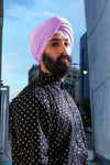 MAHARAJA Purple Cotton Pagh with Gold Polkadots | HARLEEN KAUR