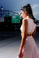 Harleen Kaur ANYA Light Pink Cotton Crop Top with Gold Polkadots and Gold Trim - Back View