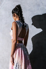 PARI ombre pink sequin crop top with deep v neck and open back - back view | HARLEEN KAUR