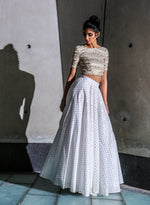 Harleen Kaur Alisha Cotton Gold Polkadot Lehenga Skirt in White