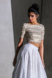 Harleen Kaur Samara Crop Top in Gold Chevron with Short Sleeves