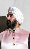 MAHARAJA White Cotton Turban with Gold Polkadots | HARLEEN KAUR