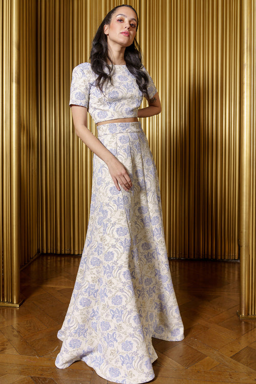 DIYA Periwinkle Jacquard Skirt - Front View - Harleen Kaur - Luxury Indian Womenswear