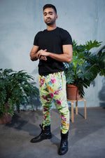 JEEVAN Tropical Floral Pant in Lime - Side View - Harleen Kaur - Modern Indian Menswear