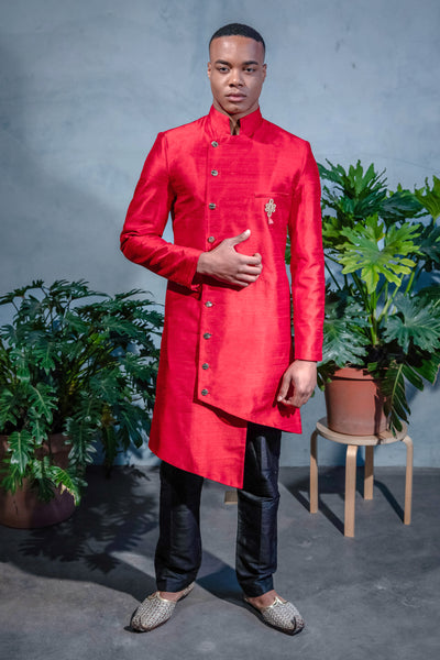 BRAR Asymmetrical Sherwani Jacket with Mandarin Collar - Front View - Harleen Kaur - South Asian Menswear