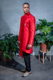 BRAR Asymmetrical Sherwani Jacket in Red - Side View - Harleen Kaur - Modern Indian Menswear