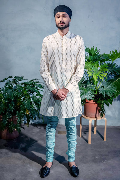 SUMEET Foiled Cotton Kurta Shirt - Front View - Harleen Kaur - South Asian Menswear