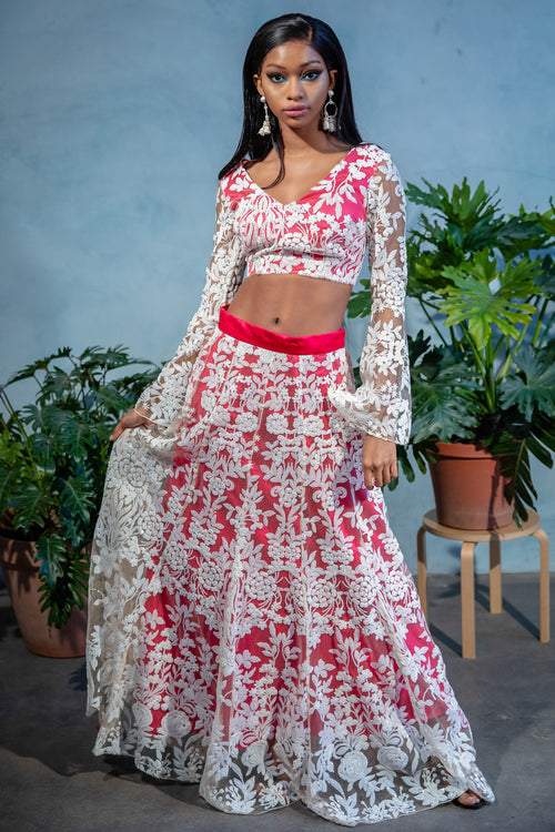 ROSE White Sequin Lengha Top - Front View - Harleen Kaur Womenswear - Sample Sale