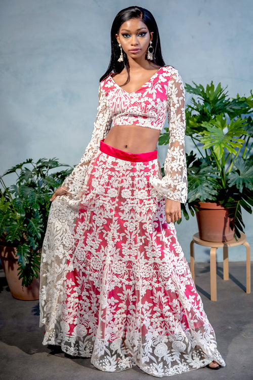 DIVYA White Sequin Lengha Skirt - Front View - Harleen Kaur Womenswear - Sample Sale