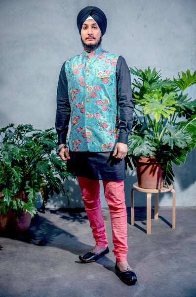SINDA Floral Embroidered Vest - Front View - Harleen Kaur - South Asian Menswear