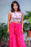 MIDA Cotton Crop Top in Grey Floral Print - Front View - Harleen Kaur