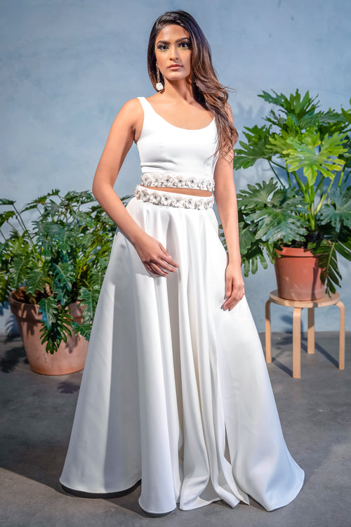 EZYA White Matte Satin Skirt with Floral Embroidery on the Waist - Front View - Harleen Kaur