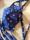 Navy and Gold Polkadot Face Mask - Unisex - Front View - Harleen Kaur