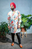 SUMEET Floral Stretch Cotton Kurta Shirt - Front View - Harleen Kaur - South Asian Menswear