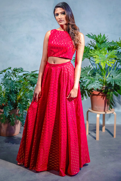MIDA Foiled Cotton Lengha Top - Front View - Harleen Kaur - Indian Womenswear