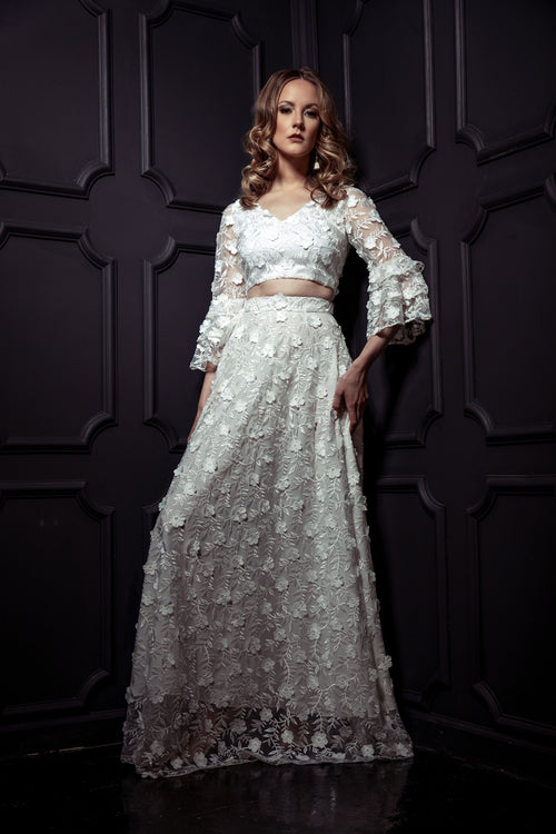 AKILAH White Floral Embroidered Mesh Skirt with White Lining - Harleen Kaur - Bridal