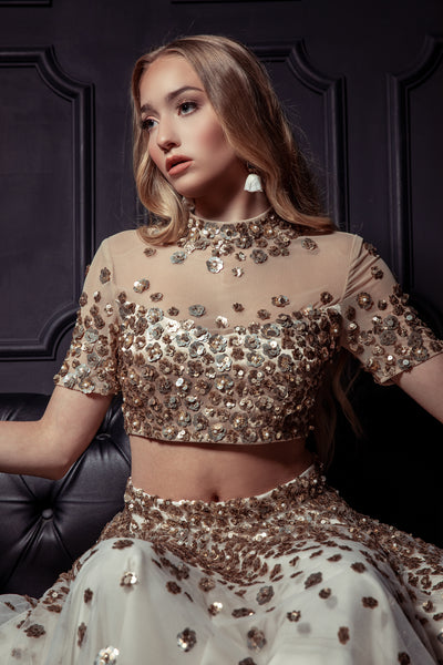 JEENA Gold Floral Sequin Crop Top - Harleen Kaur - BRIDAL
