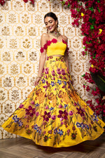 DEEPTI Yellow Floral Lehenga Skirt