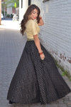 Harleen Kaur Alisha Cotton Polkadot Lehenga Skirt in Black