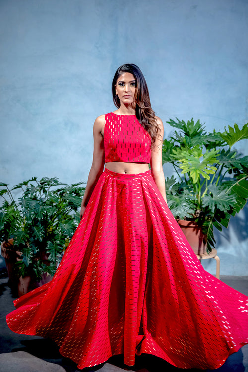 ANISHA Red Cotton Skirt with Gold Foil Rectangle Print - Front View - Harleen Kaur