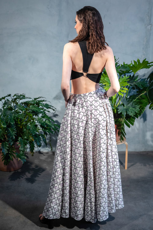 ANISHA Geometric Cotton Skirt - Back View - Harleen Kaur - Indowestern Womenswear