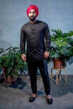 JEET Diamond Cotton Kurta Shirt in Black - Front View - Harleen Kaur - South Asian Menswear