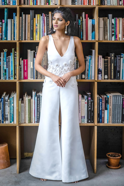 LEENA Matte Satin Jumpsuit in White with Sequin Flowers - Front View - HARLEEN KAUR