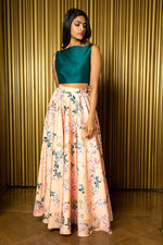 AMIRA Floral Blossom Lehenga Skirt in Peach Floral - Front View - Harleen Kaur - Indian Womenswear