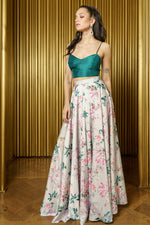 AMIRA Floral Blossom High Wasted Skirt - Front View - Harleen Kaur -South Asian Womenswear