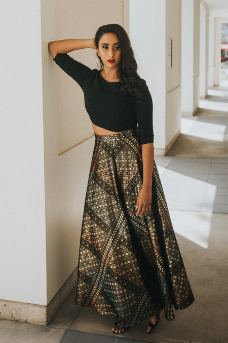 EZYA Striped Beaded Sequin Skirt