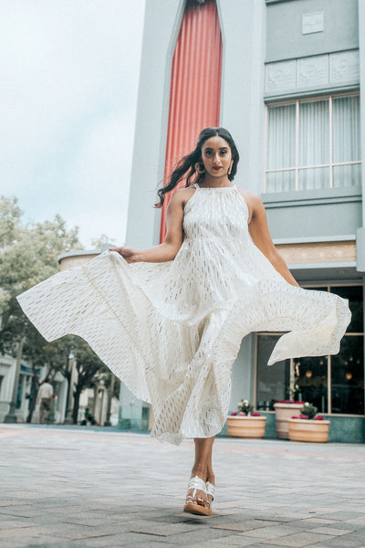 White Maxi Anarkali Dress With Gold Detail | Harleen Kaur Gemma Dress