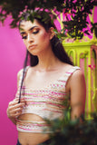 Harleen Kaur SIMAR Tweed Lengha Crop Top - Front View