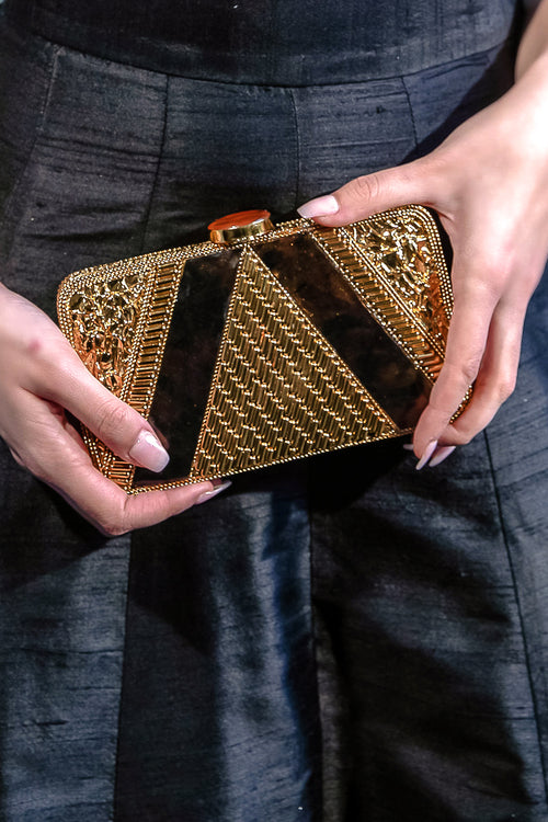 GIA Gold Midnight Clutch - Front View - Harleen Kaur - South Asian Accessories