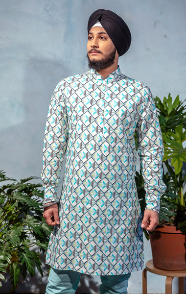SUMEET Stretch Cotton Shirt with Geometric Print in Aqua Multi - Front View - Harleen Kaur