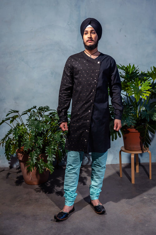 KALA Diamond Cotton Kurta Shirt - Front View - Harleen Kaur - Indian Menswear