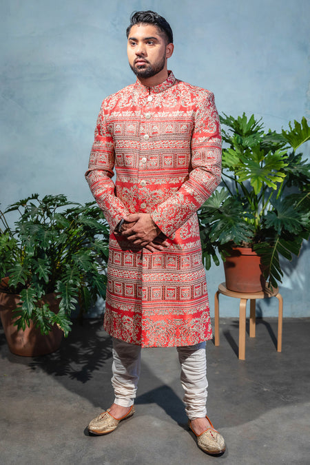 GAGAN Flower Motif Sherwani Jacket