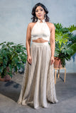 GILLY Striped Beaded Sequin Skirt in Cream - Front View - Harleen Kaur