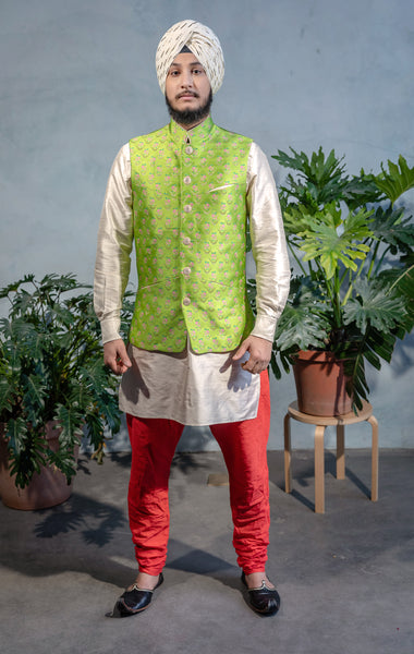 Mens ARJUN Lime Vest with Floral Embroidery and Gold Buttons - Front View - Harleen Kaur