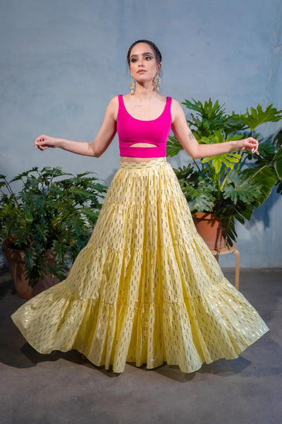 MILLY Foiled Cotton Tiered Maxi Skirt - Front View - Harleen Kaur - Modern Indian Womenswear