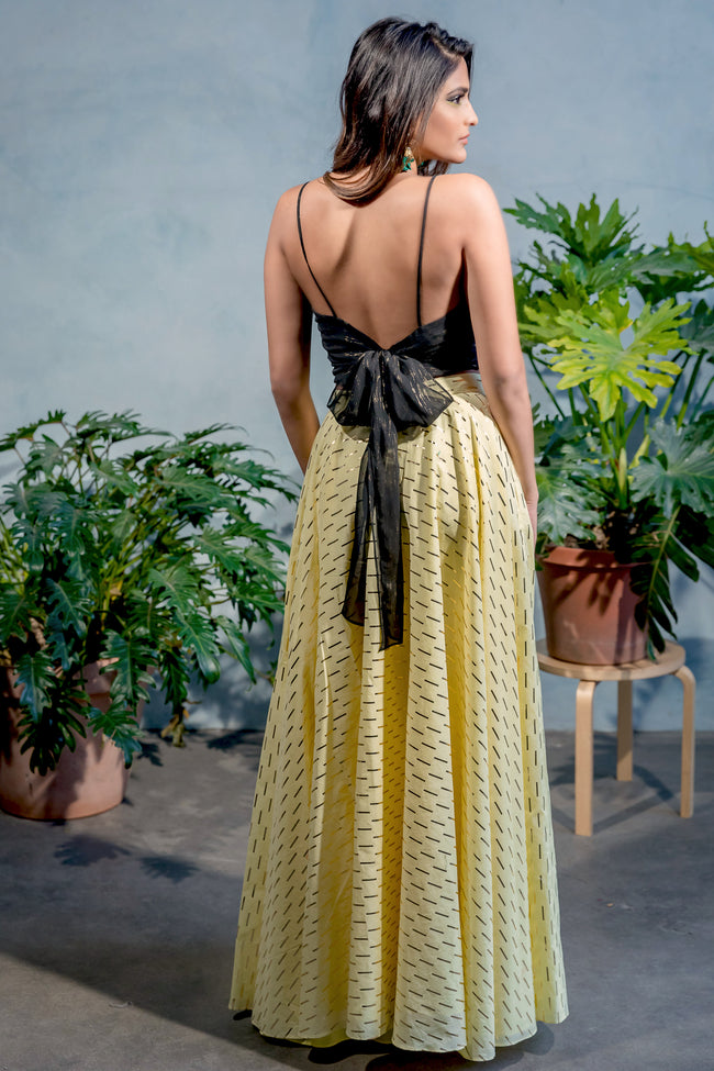 ANISHA Pale Lime Cotton Skirt with Gold Foil Rectangle Print - Back View - Harleen Kaur