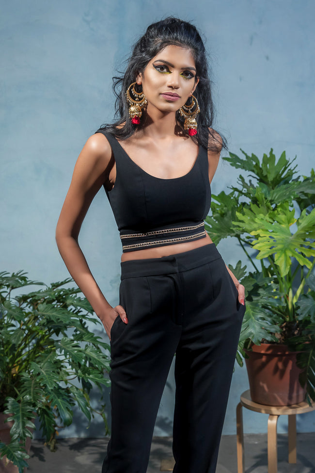 SYRAH Gold Detail Crop Top in Black - Front View - Harleen Kaur
