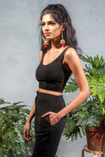 SYRAH Stretch Scoop Neck Crop Top - Side View - Harleen Kaur - Indowestern Womenswear