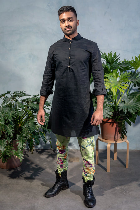 SUMEET Floral Stretch Cotton Kurta Shirt