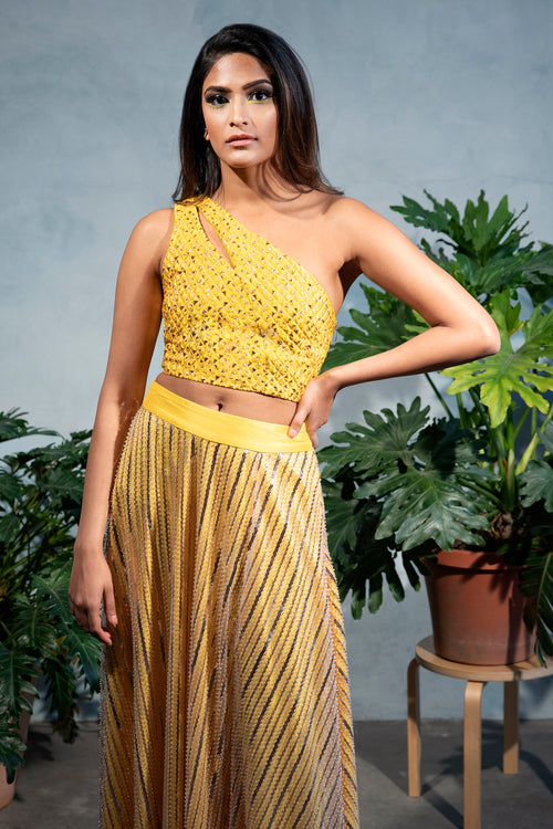 ZARI Jacquard Crop Top with Gold Diamond Specs - Front View - Harleen Kaur