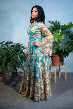 ROSIE Gold Sequin Embroidered Lengha Top - Side View - Harleen Kaur Womenswear - Sample Sale