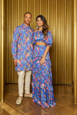 EMMA Floral Off Shoulder Lehenga Top Blue Floral - Front View - Harleen Kaur - Ethically Made Womenswear