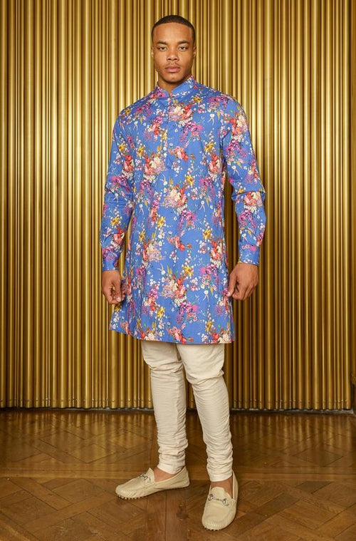 SUNNY Blue Floral Long Sleeve Kurta - Front View - Harleen Kaur - Indian Menswear