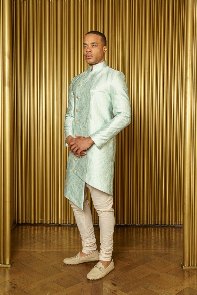 BIREN Asymmetrical Mint Jacquard Sherwani - Side View - Harleen Kaur - South Asian Menswear